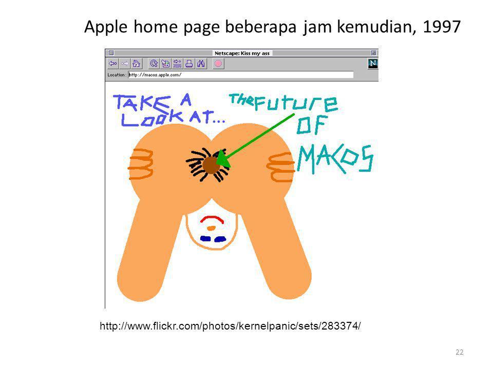 Apple home page beberapa jam kemudian, 1997