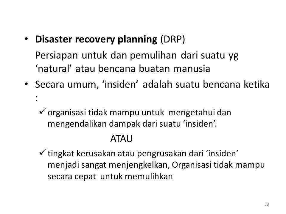 Disaster recovery planning (DRP)