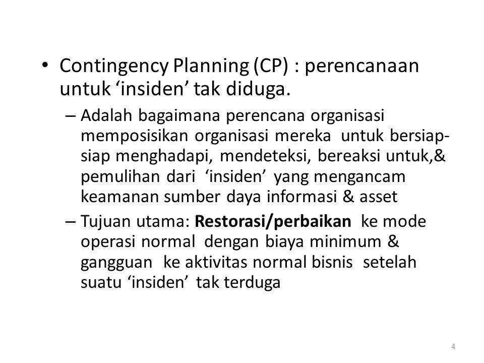 Contingency Planning (CP) : perencanaan untuk 'insiden' tak diduga.
