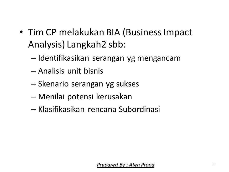 Tim CP melakukan BIA (Business Impact Analysis) Langkah2 sbb: