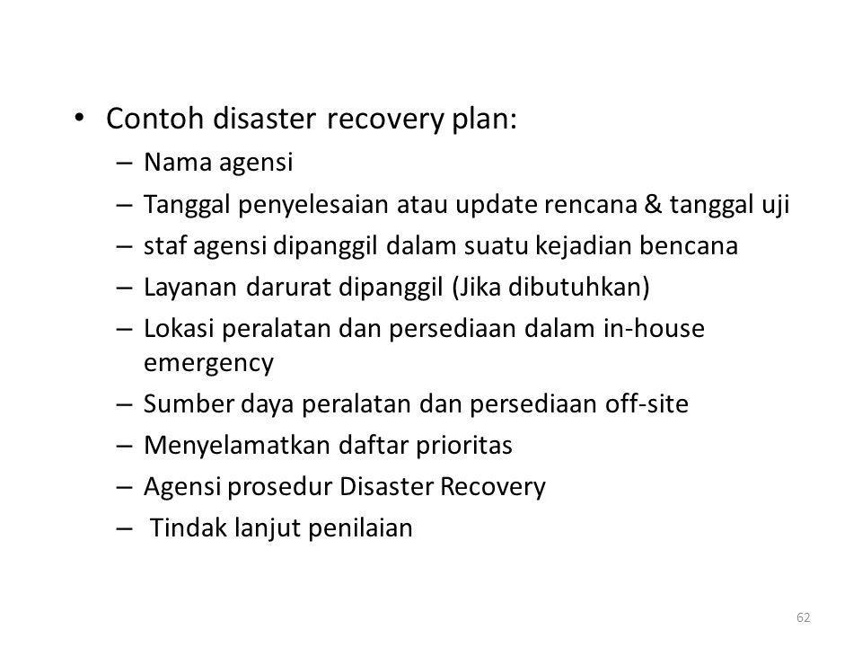 Contoh disaster recovery plan: