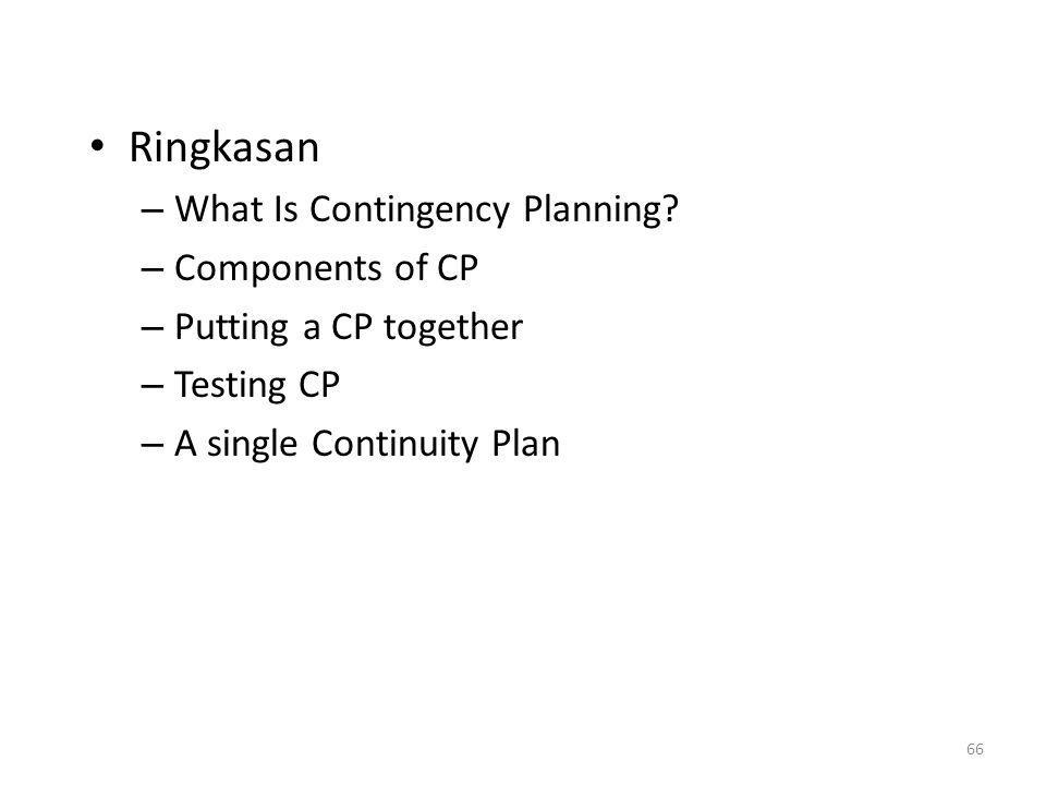 Ringkasan What Is Contingency Planning Components of CP