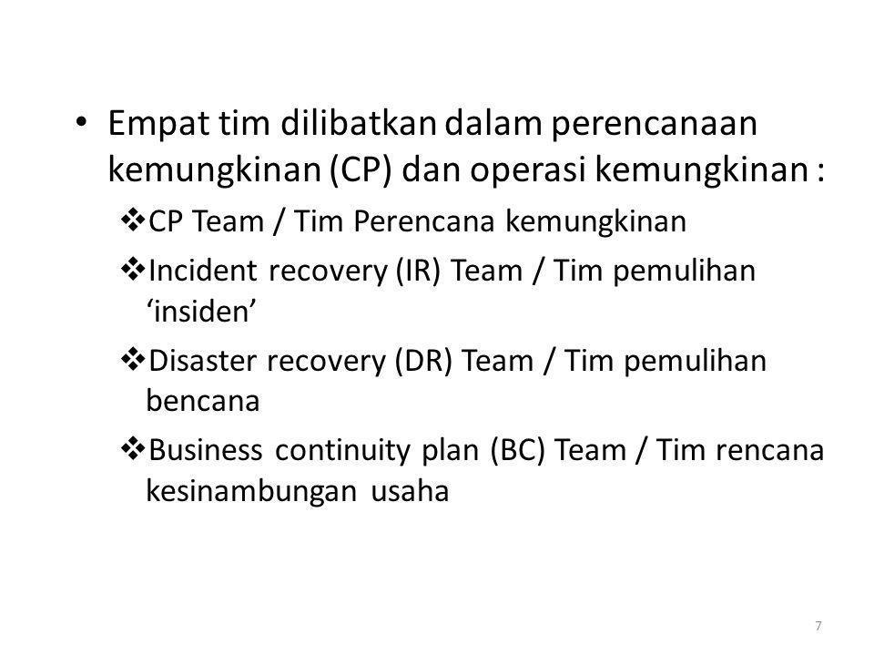 Empat tim dilibatkan dalam perencanaan kemungkinan (CP) dan operasi kemungkinan :