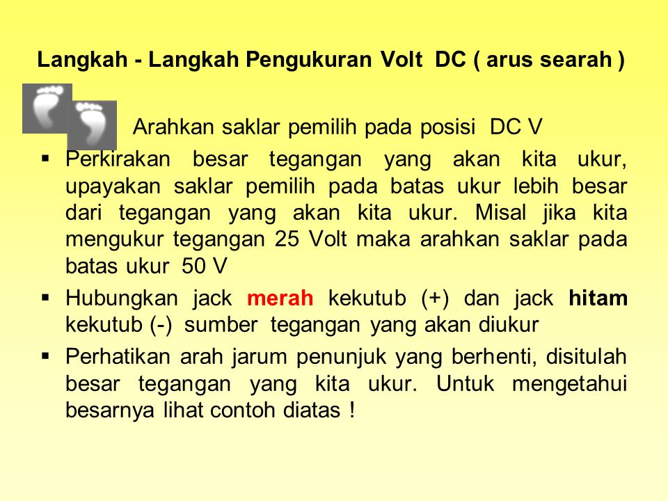 Langkah - Langkah Pengukuran Volt DC ( arus searah )