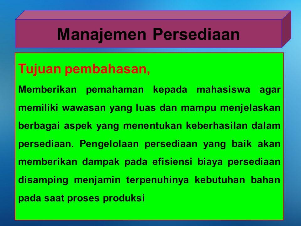 Manajemen Persediaan Tujuan pembahasan,