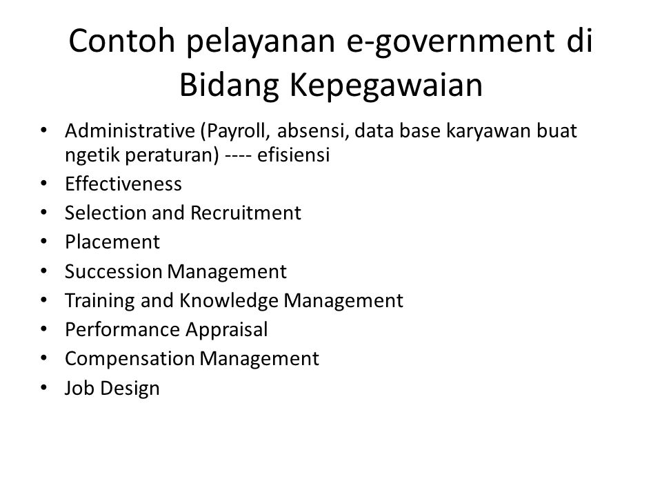 Contoh pelayanan e-government di Bidang Kepegawaian