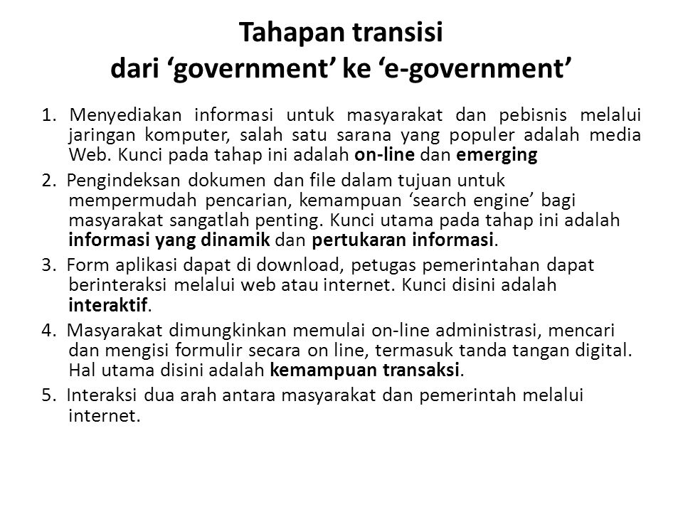 Tahapan transisi dari 'government' ke 'e-government'