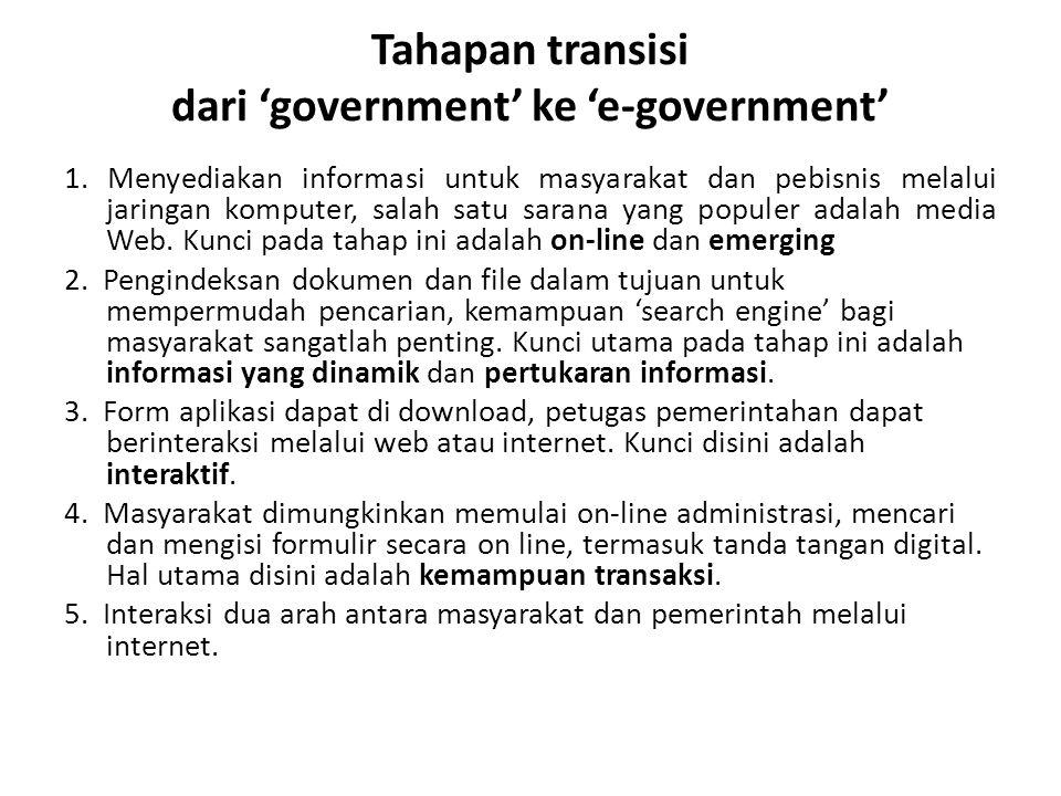 Tahapan transisi dari 'government' ke 'e-government'