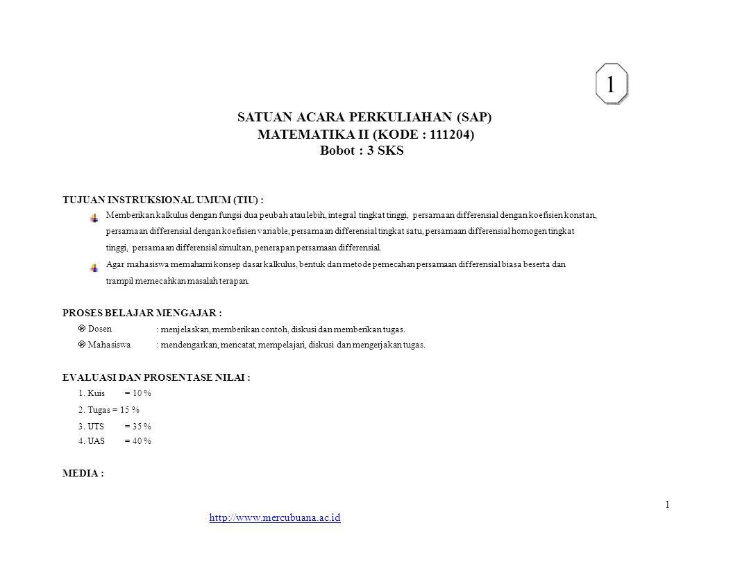 SATUAN ACARA PERKULIAHAN (SAP)