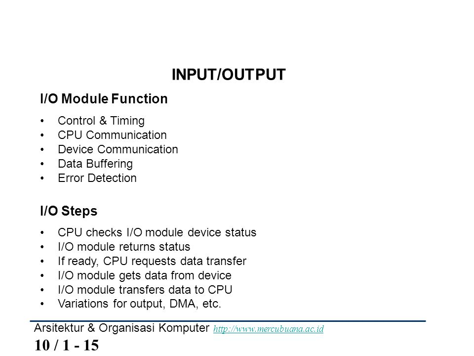 INPUT/OUTPUT I/O Module Function I/O Steps Control & Timing