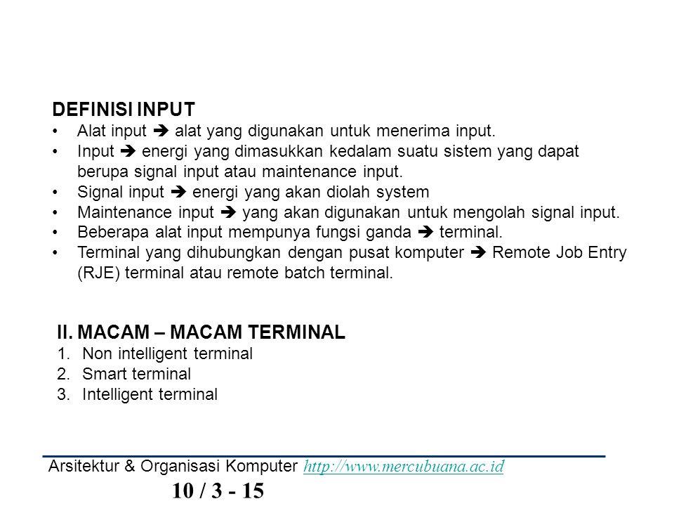 II. MACAM – MACAM TERMINAL