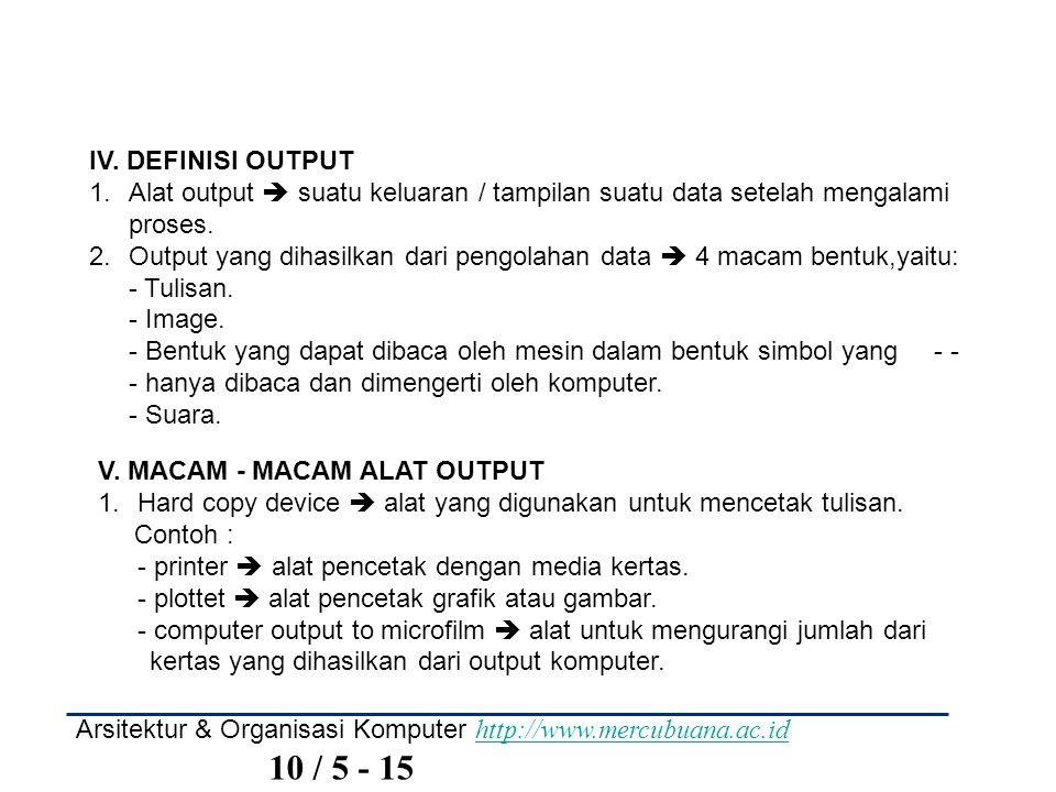 IV. DEFINISI OUTPUT Alat output  suatu keluaran / tampilan suatu data setelah mengalami proses.
