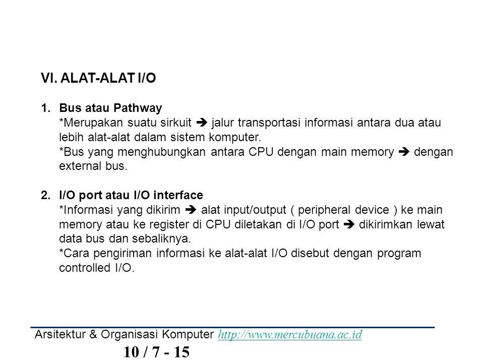 VI. ALAT-ALAT I/O Bus atau Pathway
