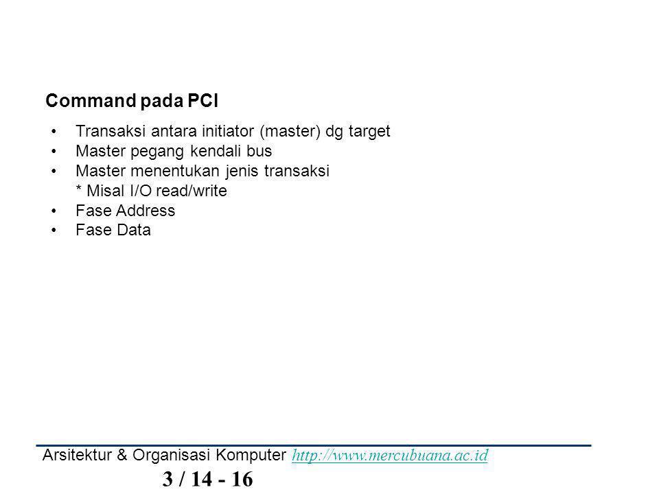 Command pada PCI Transaksi antara initiator (master) dg target