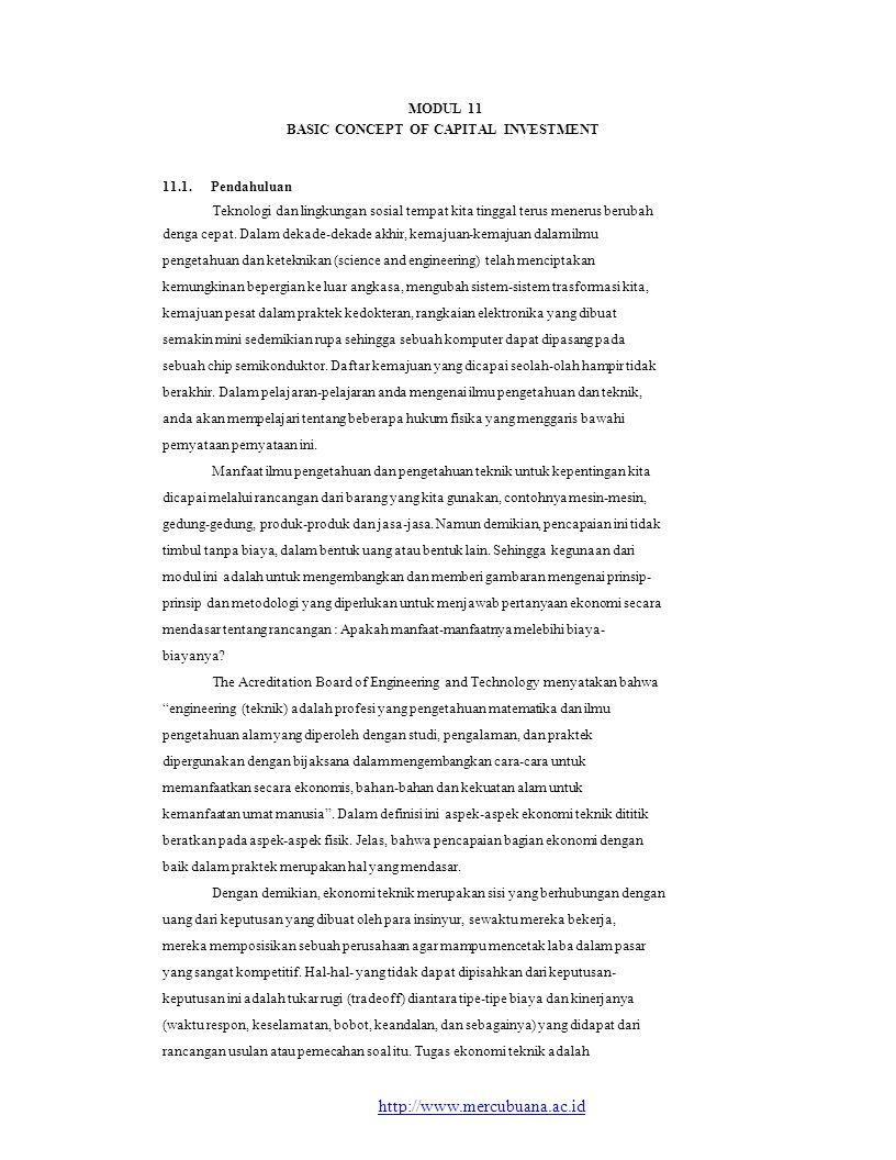 MODUL 11 BASIC CONCEPT OF CAPITAL INVESTMENT. 11.1. Pendahuluan. Teknologi dan lingkungan sosial tempat kita tinggal terus menerus berubah.