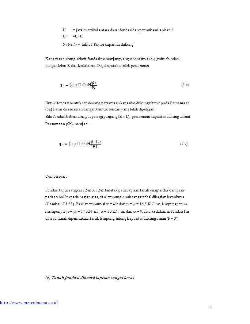 Nc, Nq, Nγ = faktor- faktor kapasitas dukung