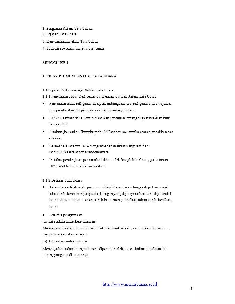 http://www.mercubuana.ac.id 1 1. Pengantar Sistem Tata Udara: