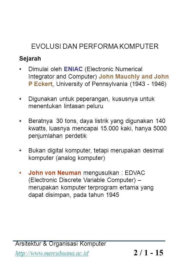 EVOLUSI DAN PERFORMA KOMPUTER