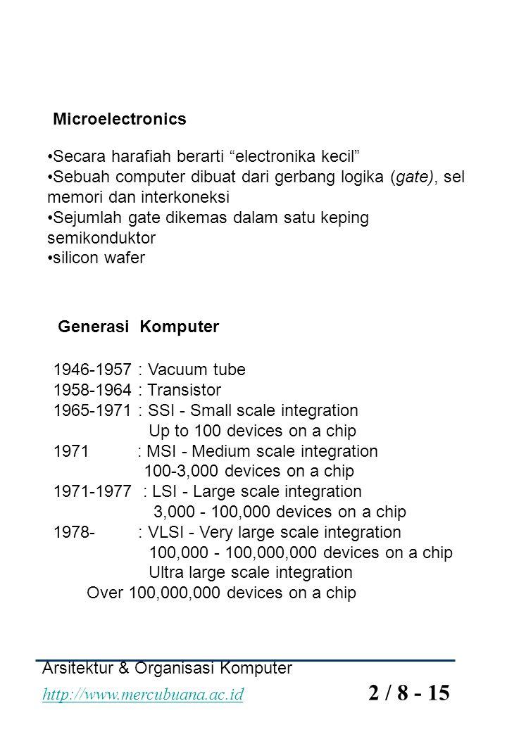 Microelectronics Secara harafiah berarti electronika kecil Sebuah computer dibuat dari gerbang logika (gate), sel memori dan interkoneksi.