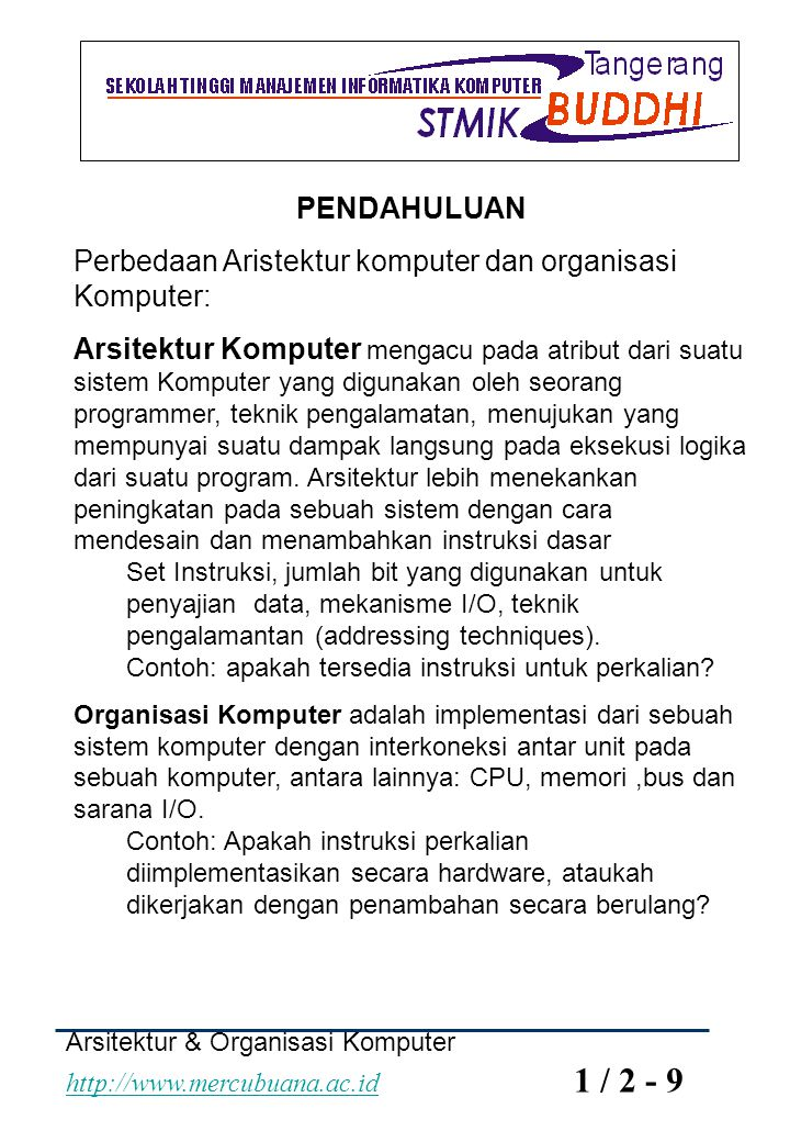 Perbedaan Aristektur komputer dan organisasi Komputer: