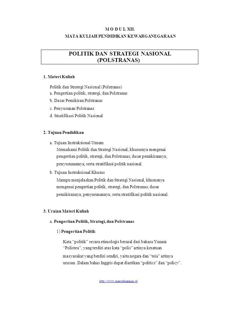 POLITIK DAN STRATEGI NASIONAL (POLSTRANAS)