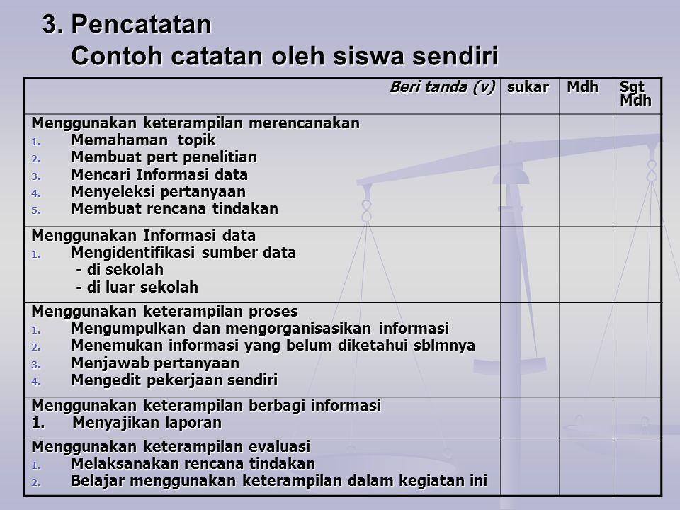 3. Pencatatan Contoh catatan oleh siswa sendiri