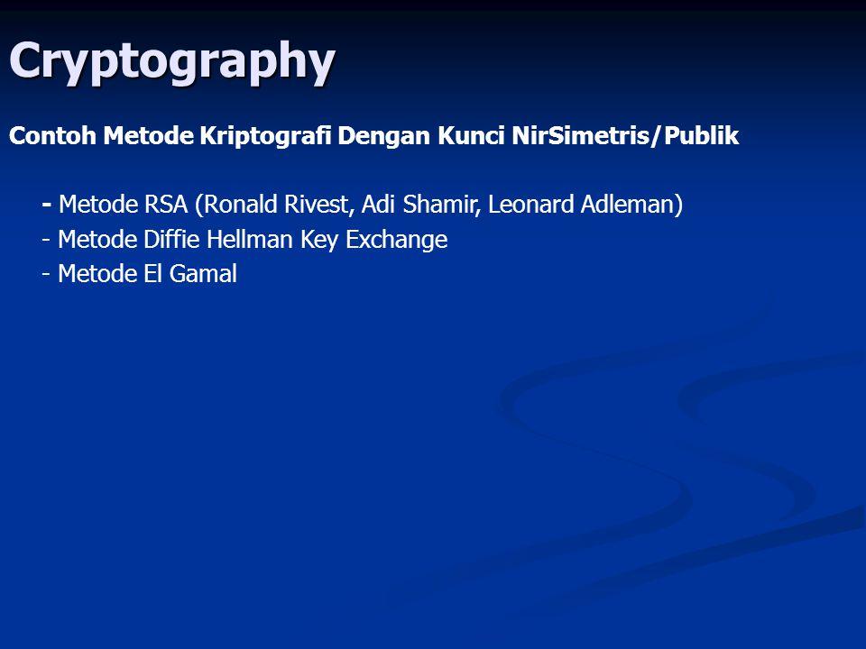 Cryptography Contoh Metode Kriptografi Dengan Kunci NirSimetris/Publik