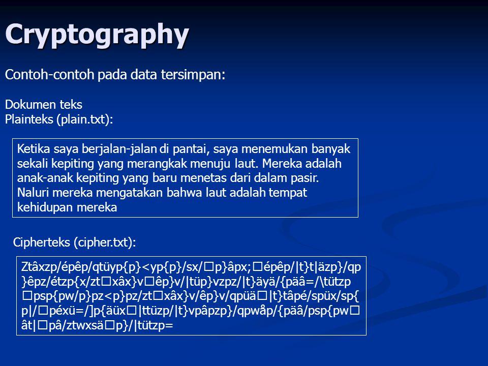 Cryptography Contoh-contoh pada data tersimpan: Dokumen teks
