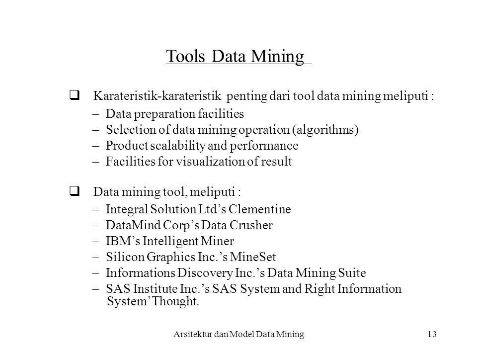  Karateristik-karateristik penting dari tool data mining meliputi :
