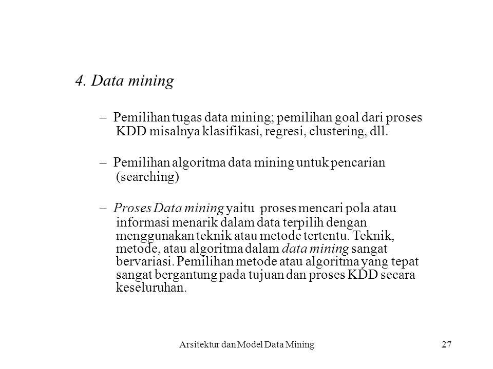 – Pemilihan tugas data mining; pemilihan goal dari proses