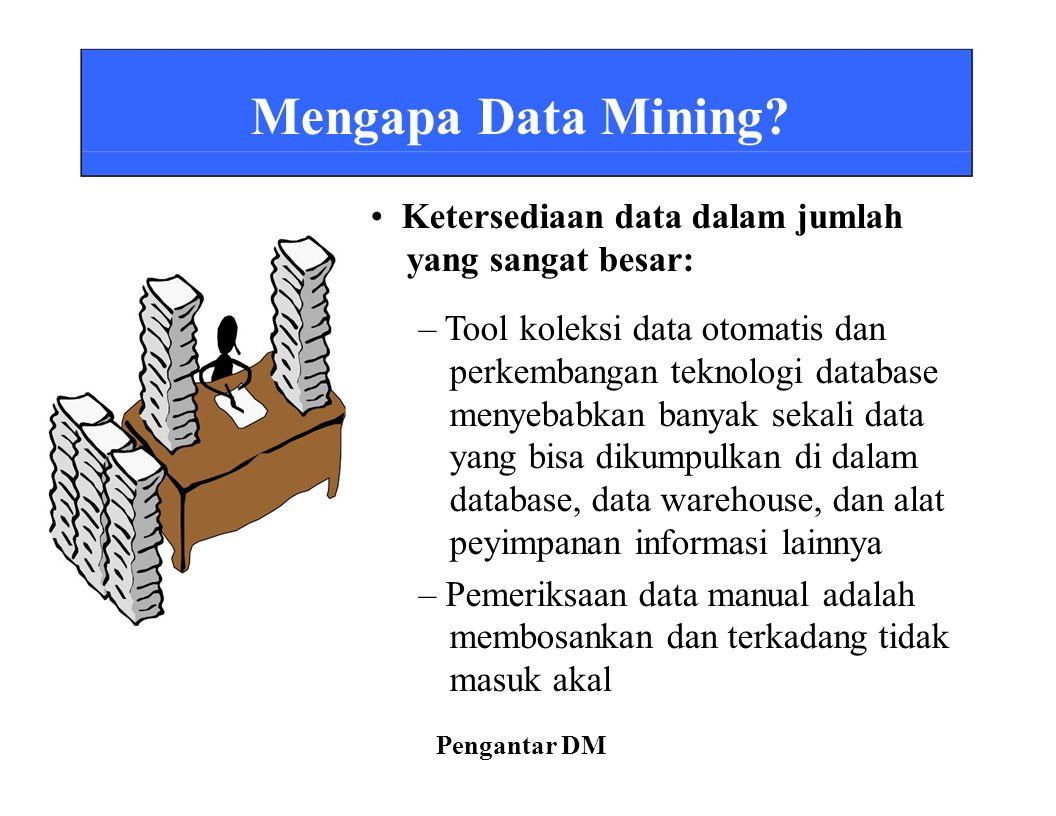 • Ketersediaan data dalam jumlah