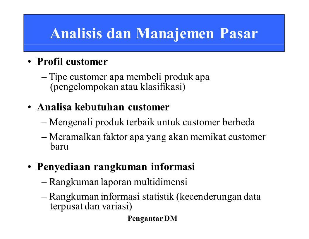 – Tipe customer apa membeli produk apa • Analisa kebutuhan customer