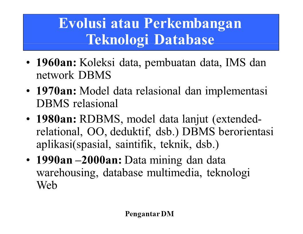 Teknologi Database • 1960an: Koleksi data, pembuatan data, IMS dan