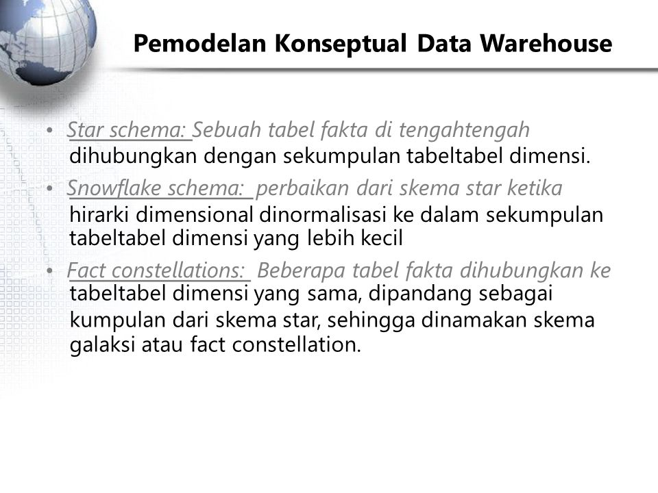Pemodelan Konseptual Data Warehouse