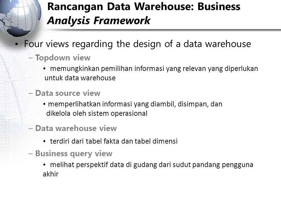 Rancangan Data Warehouse: Business Analysis Framework