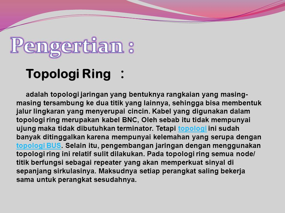 Pengertian : Topologi Ring :