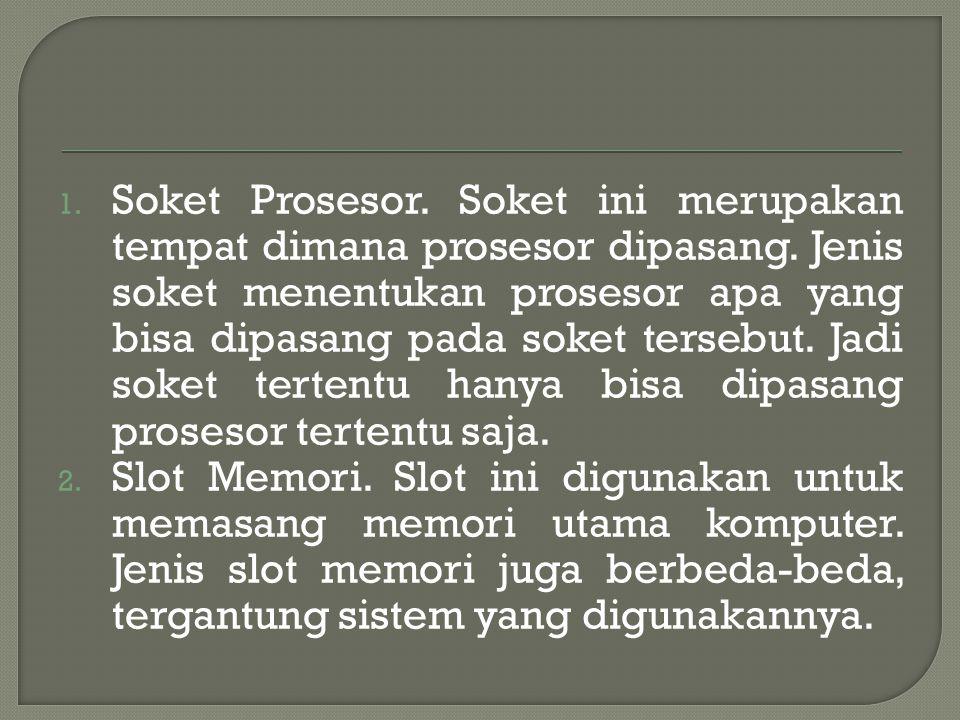 Soket Prosesor. Soket ini merupakan tempat dimana prosesor dipasang