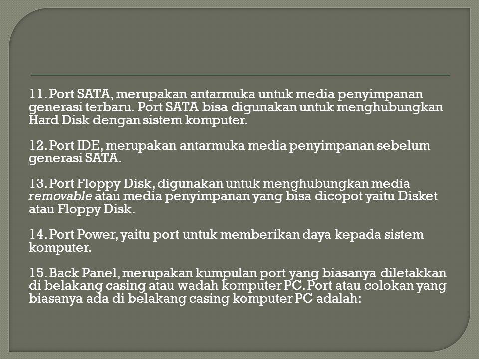 11. Port SATA, merupakan antarmuka untuk media penyimpanan generasi terbaru.