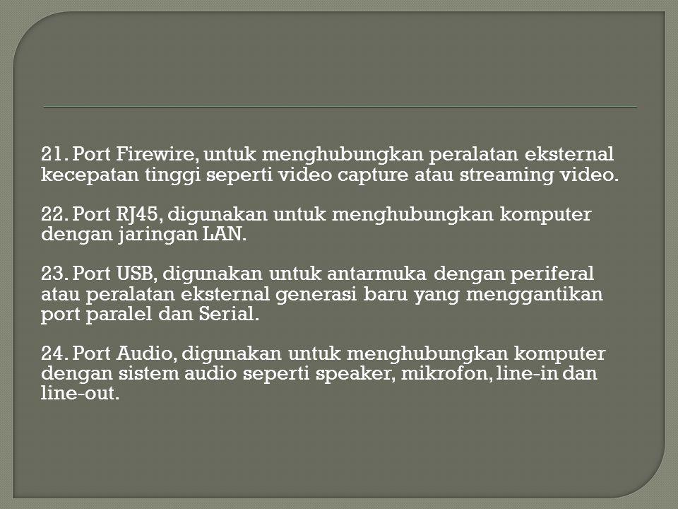 21. Port Firewire, untuk menghubungkan peralatan eksternal kecepatan tinggi seperti video capture atau streaming video.