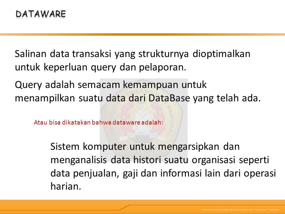 DATAWARE Salinan data transaksi yang strukturnya dioptimalkan untuk keperluan query dan pelaporan.