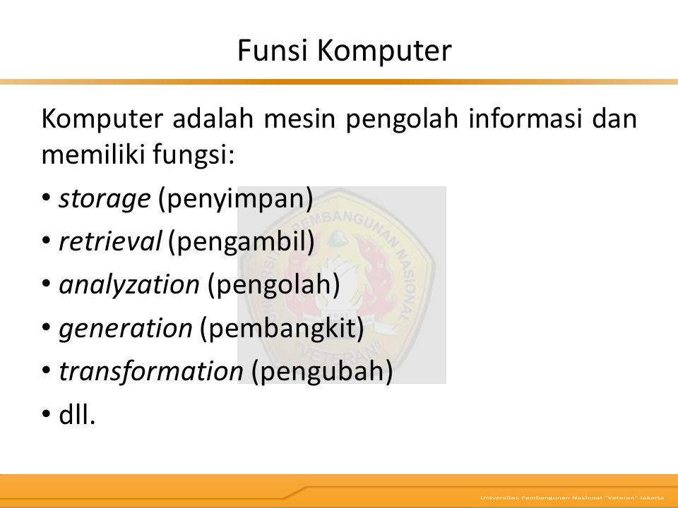 Funsi Komputer Komputer adalah mesin pengolah informasi dan memiliki fungsi: storage (penyimpan) retrieval (pengambil)