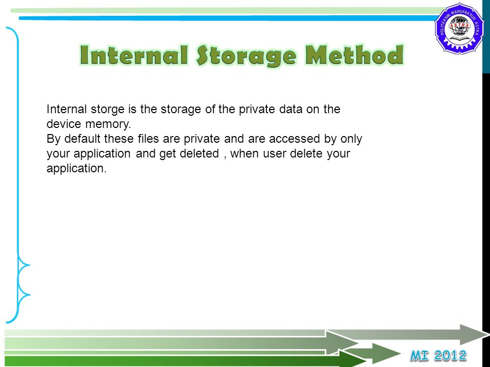 Internal Storage Method