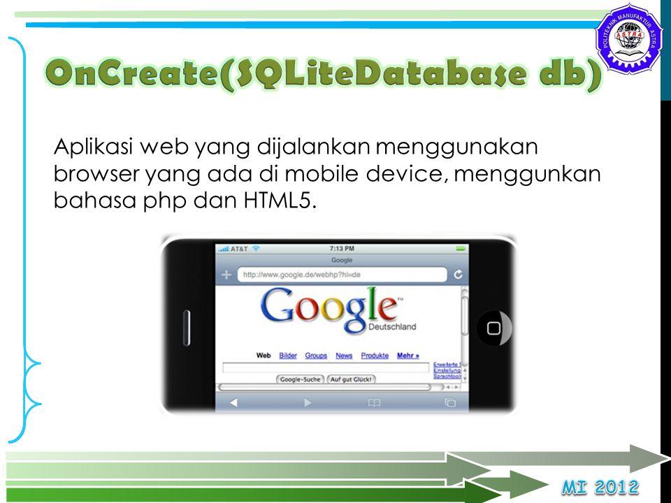 OnCreate(SQLiteDatabase db)
