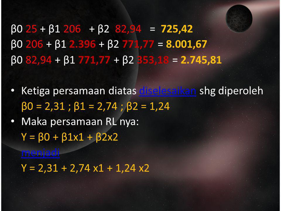 β0 25 + β1 206 + β2 82,94 = 725,42 β0 206 + β1 2.396 + β2 771,77 = 8.001,67. β0 82,94 + β1 771,77 + β2 353,18 = 2.745,81.