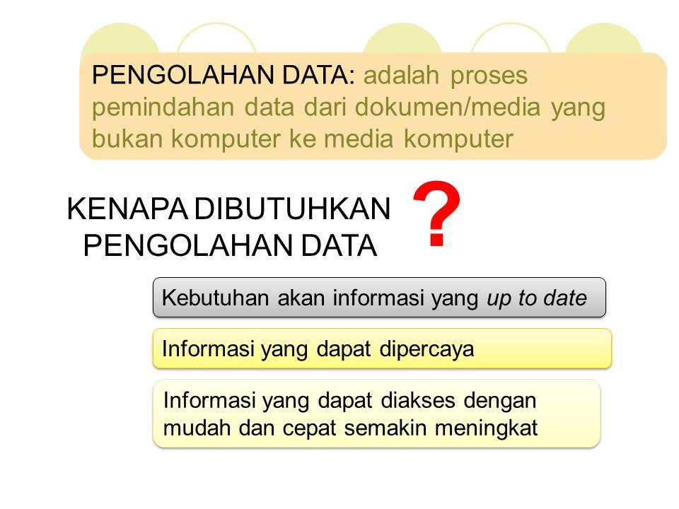 KENAPA DIBUTUHKAN PENGOLAHAN DATA