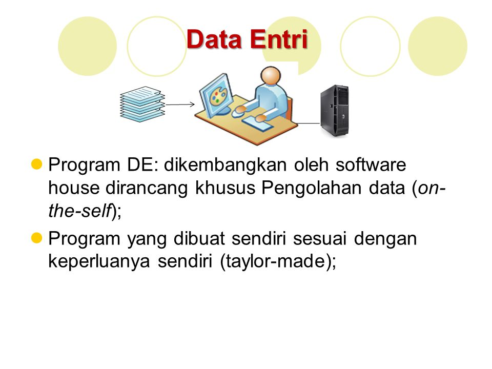 Data Entri Program DE: dikembangkan oleh software house dirancang khusus Pengolahan data (on-the-self);