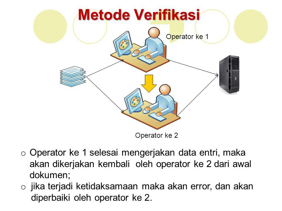 Metode Verifikasi Operator ke 1. Operator ke 2.
