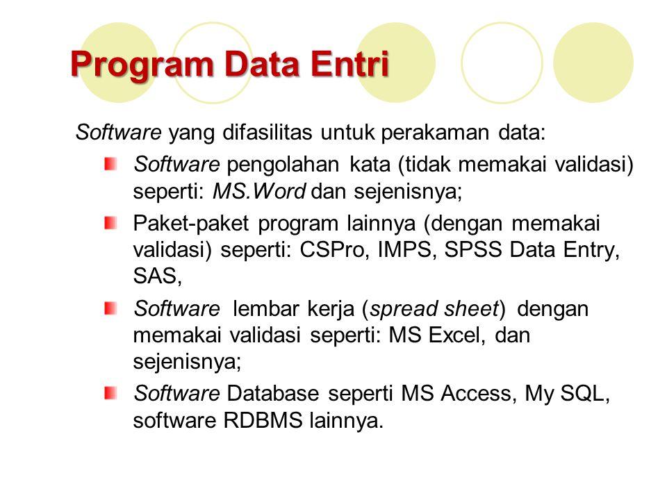 Program Data Entri Software yang difasilitas untuk perakaman data: