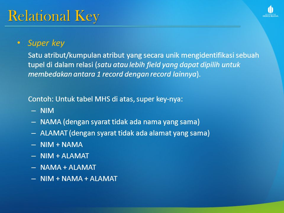 Relational Key Super key