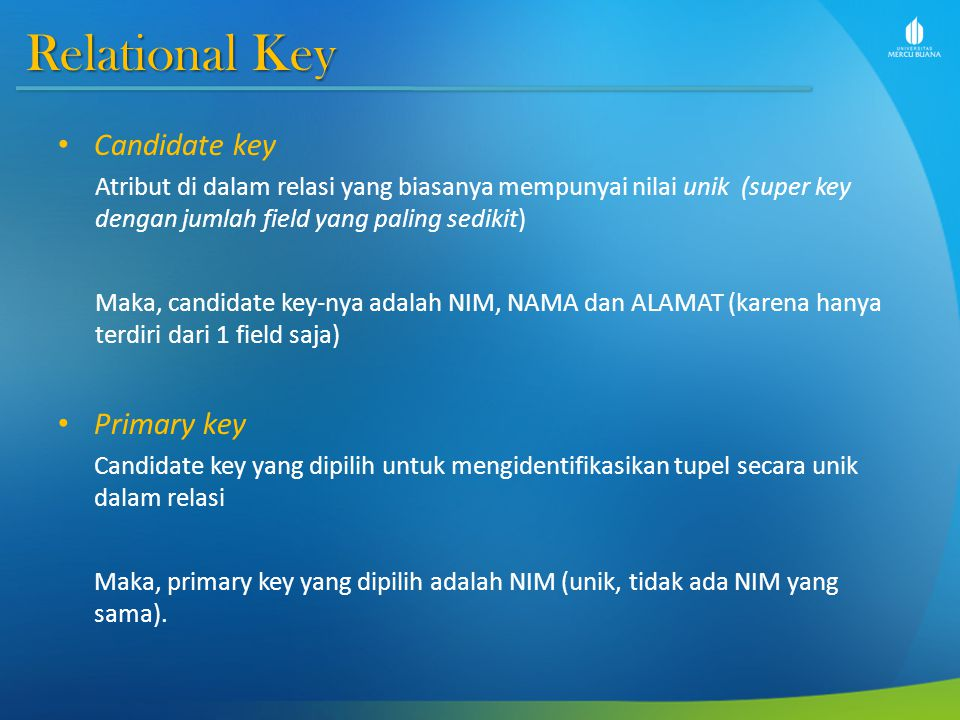 Relational Key Candidate key Primary key